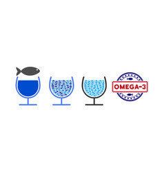 Fish omega-3 glass cup collage vector