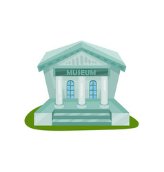flat icon of museum building exterior with vector image