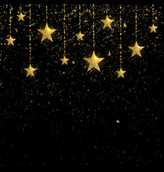 Golden sparkling stars with golden confetti vector