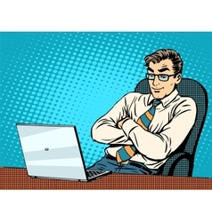 Good businessman at laptop vector