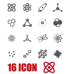 grey atom icon set vector image