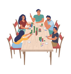 happy family characters playing board game sitting vector image