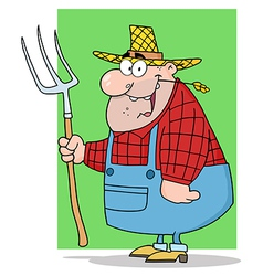 Happy Farmer Man Carrying A Rake vector image