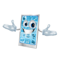 happy smiling silver and blue phone vector image
