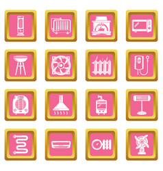 heat cool air flow tools icons set pink square vector image
