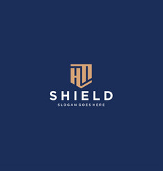 hf or hn letter shield icon vector image