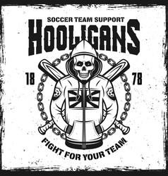 Hooligan skull in hoodie emblem vector