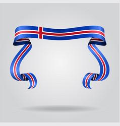Icelandic flag wavy ribbon background vector