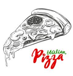 italian pizza slice pizza design template logo vector image