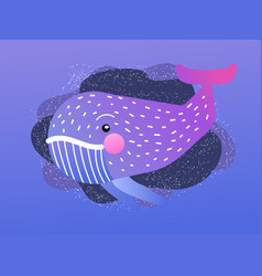jolly whale childrens cartoon with image a vector image