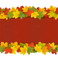 Knitted Border with Maple Leaves vector image
