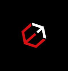 letter e cube up arrow modern logo vector image