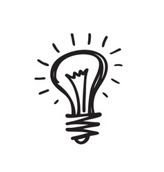 light bulb - creative sketch draw vector image