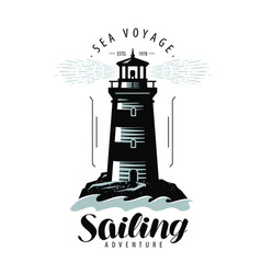 lighthouse sailing label or logo sea travel vector image