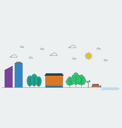 Line graphic concept of urban landscape vector