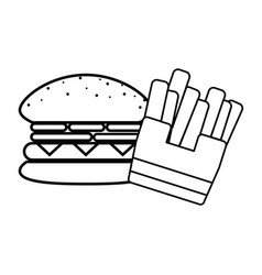 Line tasty hamburger with fries french fast food vector