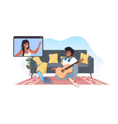 man playing guitar chatting with african american vector image