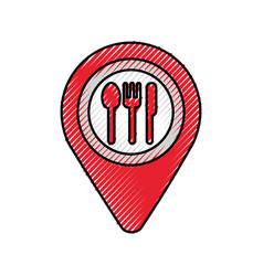 map pin pointer with cafe or restaurant sign icon vector image