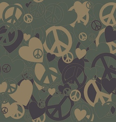 Military Camouflage Love and Pacifism sign vector