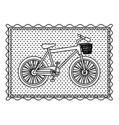 Monochrome contour frame of bicycle with vector
