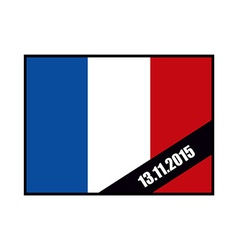 Mourning Ribbon on flag of France Attack in Paris vector image