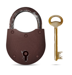 old rusty padlock with metallic key vector image
