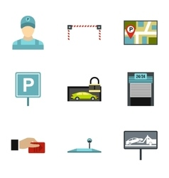 Parking area icons set flat style vector image