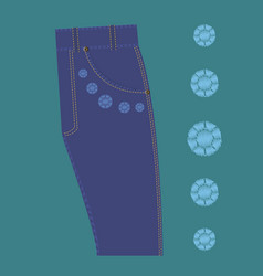 Pattern rhinestone design jeans vector