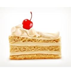 Piece cake with cherry vector