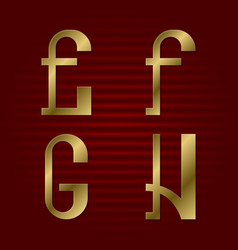 Presentable gold font e f g h isolated letters vector