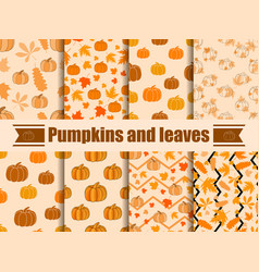pumpkins and leaves seamless pattern collection vector image