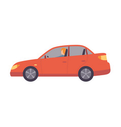 Red car with female driver side view vector