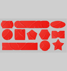 Red glued stickers crumpled paper patches mockup vector
