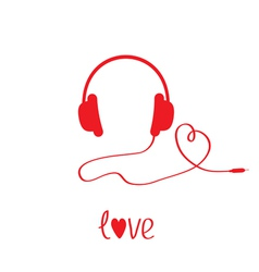 Red headphones and cord in shape heart white vector
