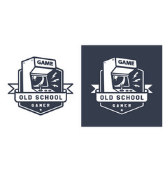 retro acrade game machine badge vector image