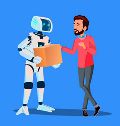robot delivering packages to man isolated vector image