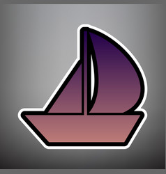 sail boat sign violet gradient icon with vector image