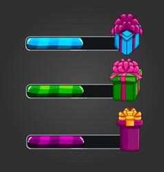Set bar downloader with gift box close vector