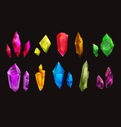 set different colorful crystals beautiful vector image