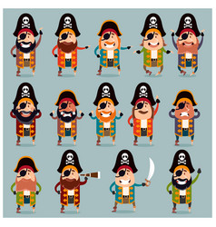 set flat pirate icons vector image