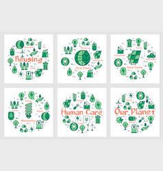 Set of green eco banners with line icons vector