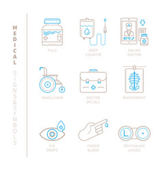 set of medical icons and concepts in mono thin vector image