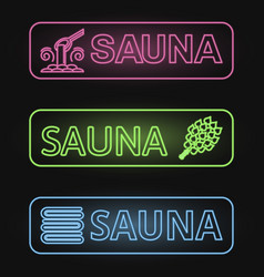 Set of neon sauna banners vector