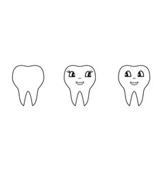 set of teeth white icons vector image