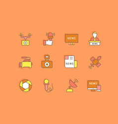 set simple line icons news vector image