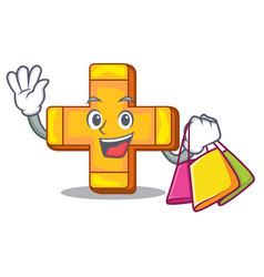 shopping cartoon plus sign logo concept health vector image