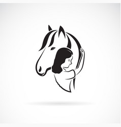 Silhouette horse and girl on white vector