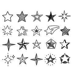 sketch stars cute star shapes black starburst vector image