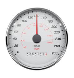 Speedometer speed gauge with metal frame 140 km vector