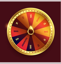 Spinning fortune wheel in shine golden color vector